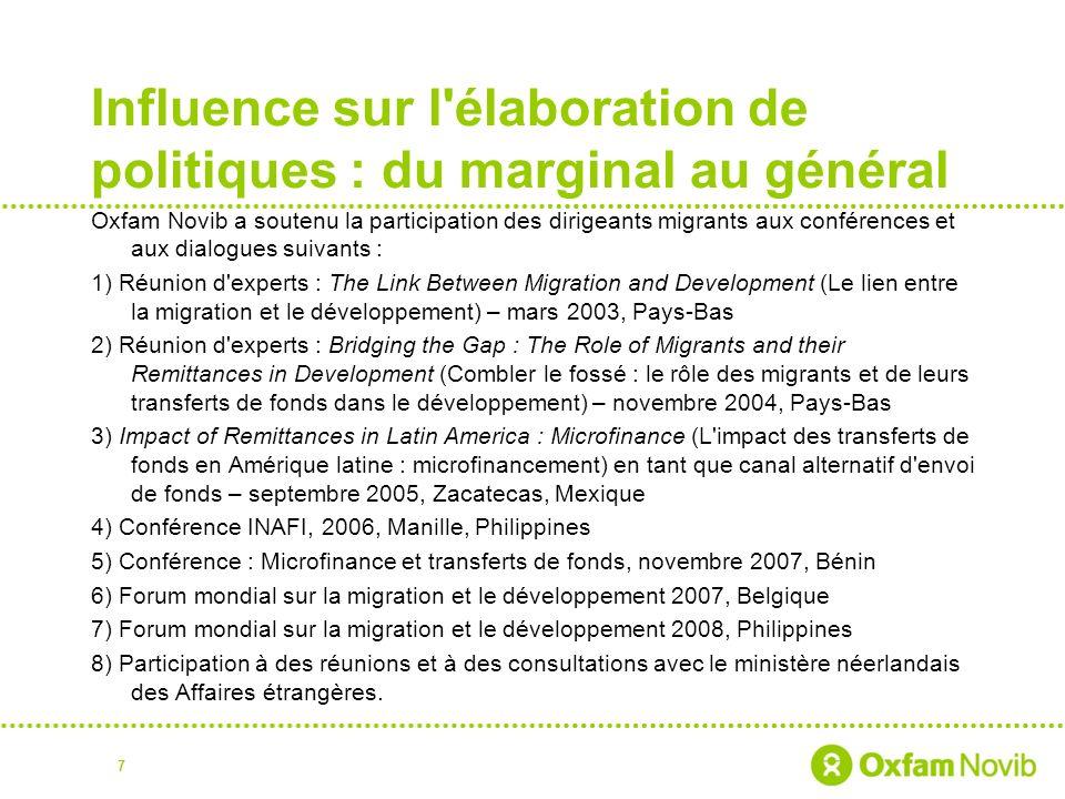 Influence sur l'élaboration de politiques : du marginal au général Oxfam Novib a soutenu la participation des dirigeants migrants aux conférences et a