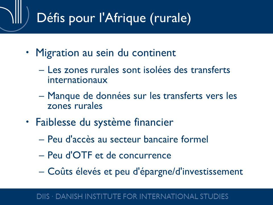 DIIS DANISH INSTITUTE FOR INTERNATIONAL STUDIES Défis pour l'Afrique (rurale) Migration au sein du continent –Les zones rurales sont isolées des trans