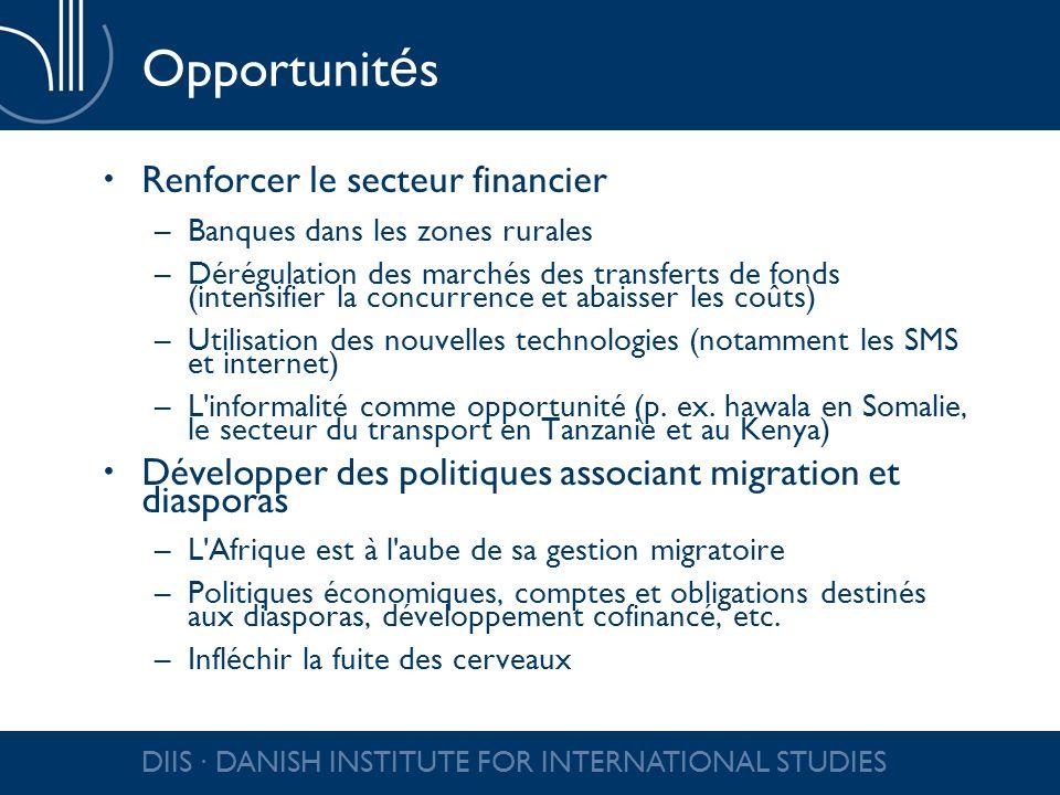 DIIS DANISH INSTITUTE FOR INTERNATIONAL STUDIES Le mantra des transferts de fonds Les transferts de fonds comme argument de développement –Faire des diasporas des instruments de développement –Peut détourner l attention des problèmes de développement dans le pays d origine Le développement est-il la responsabilité des diasporas .