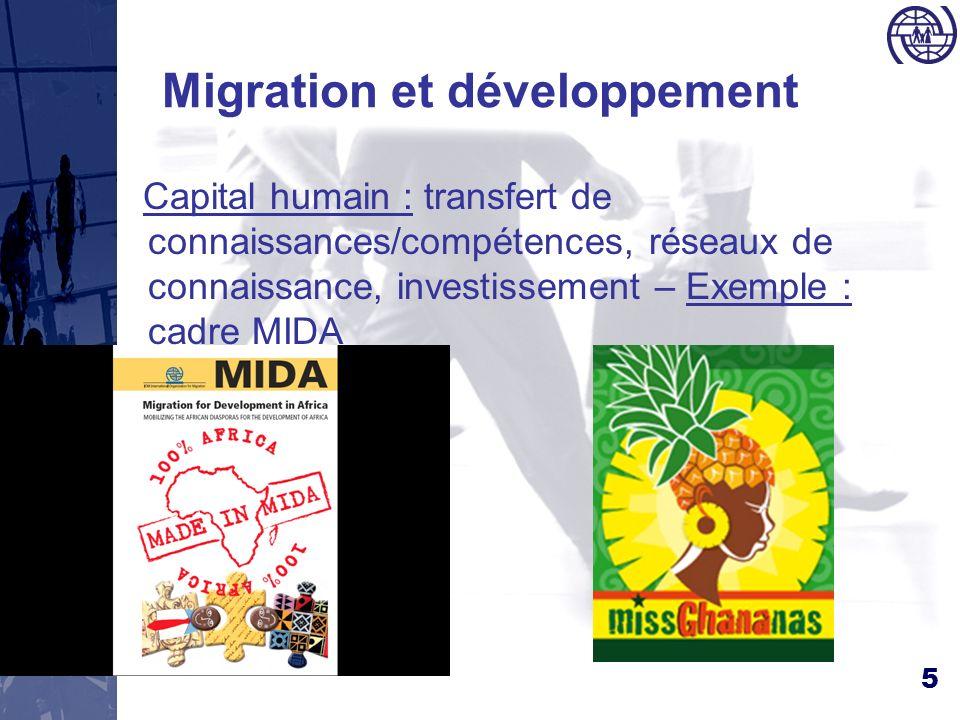 5 Migration et développement Capital humain : transfert de connaissances/compétences, réseaux de connaissance, investissement – Exemple : cadre MIDA