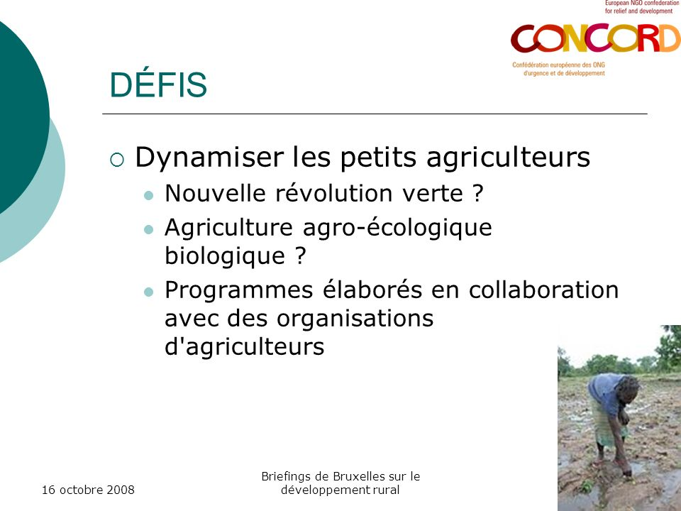 16 octobre 2008 Briefings de Bruxelles sur le développement rural DÉFIS Dynamiser les petits agriculteurs Nouvelle révolution verte ? Agriculture agro