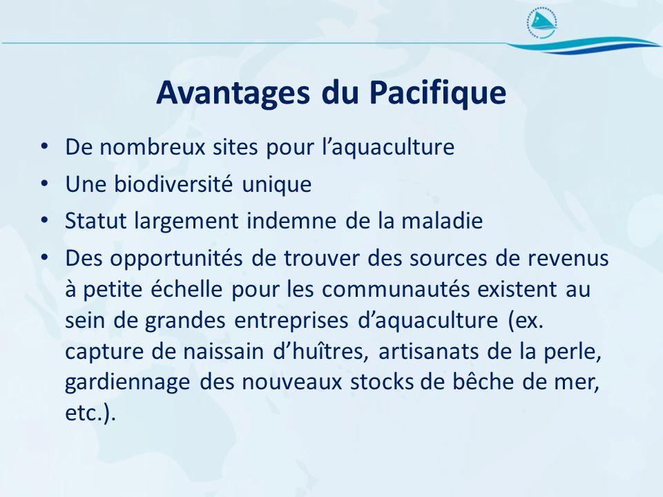 Avantages du Pacifique De nombreux sites pour laquaculture Une biodiversité unique Statut largement indemne de la maladie Des opportunités de trouver