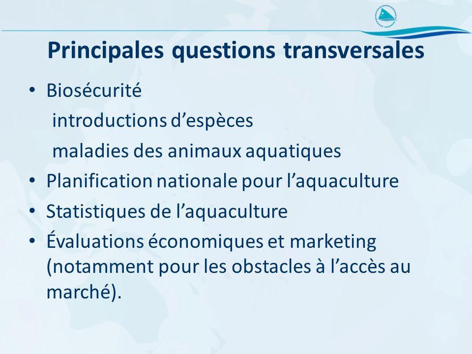 Principales questions transversales Biosécurité introductions despèces maladies des animaux aquatiques Planification nationale pour laquaculture Stati