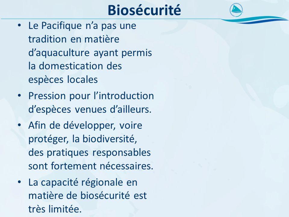 Biosécurité Le Pacifique na pas une tradition en matière daquaculture ayant permis la domestication des espèces locales Pression pour lintroduction de