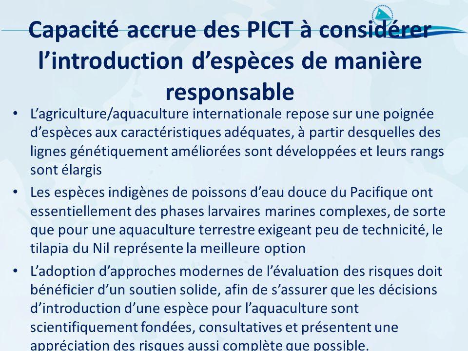 Capacité accrue des PICT à considérer lintroduction despèces de manière responsable Lagriculture/aquaculture internationale repose sur une poignée des