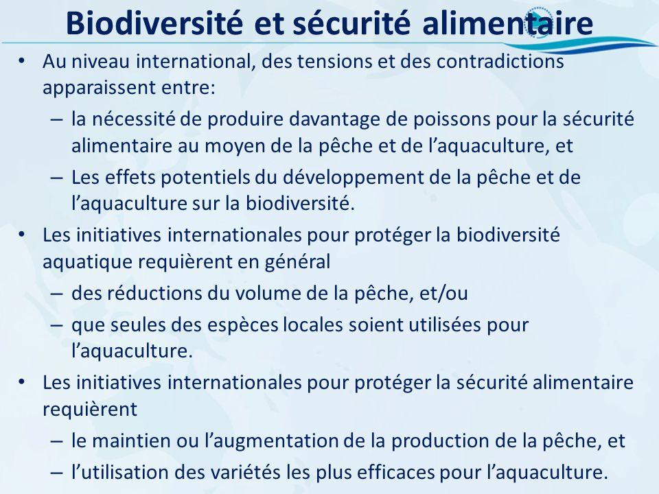 Biodiversité et sécurité alimentaire Au niveau international, des tensions et des contradictions apparaissent entre: – la nécessité de produire davant