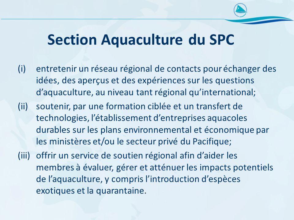 Section Aquaculture du SPC (i)entretenir un réseau régional de contacts pour échanger des idées, des aperçus et des expériences sur les questions daqu