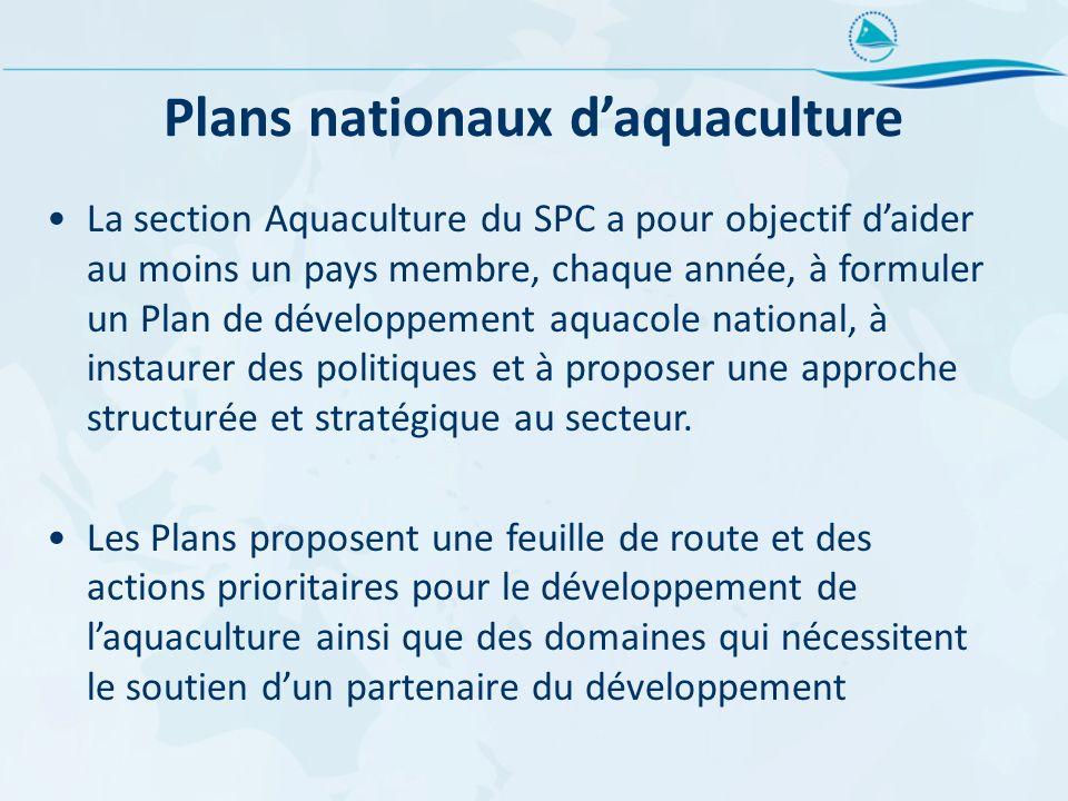 Plans nationaux daquaculture La section Aquaculture du SPC a pour objectif daider au moins un pays membre, chaque année, à formuler un Plan de dévelop