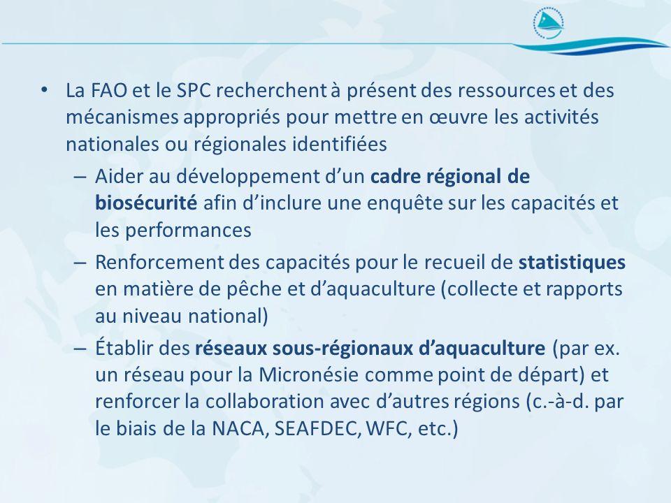 La FAO et le SPC recherchent à présent des ressources et des mécanismes appropriés pour mettre en œuvre les activités nationales ou régionales identif