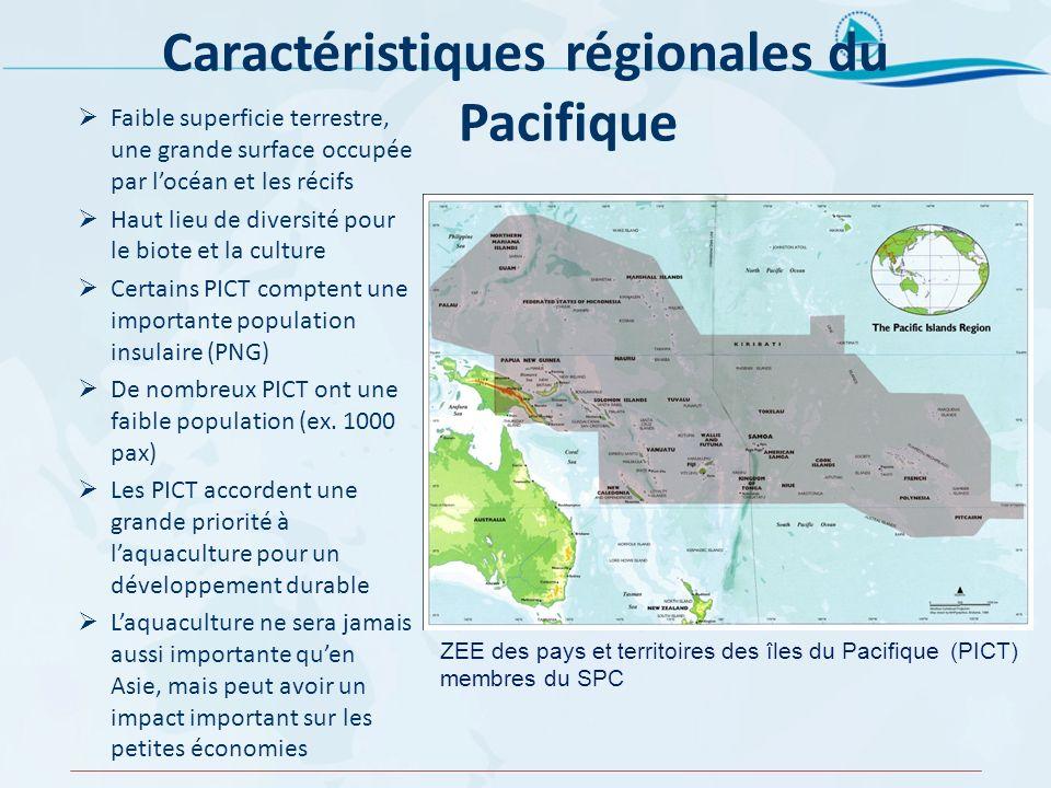 Caractéristiques régionales du Pacifique Faible superficie terrestre, une grande surface occupée par locéan et les récifs Haut lieu de diversité pour