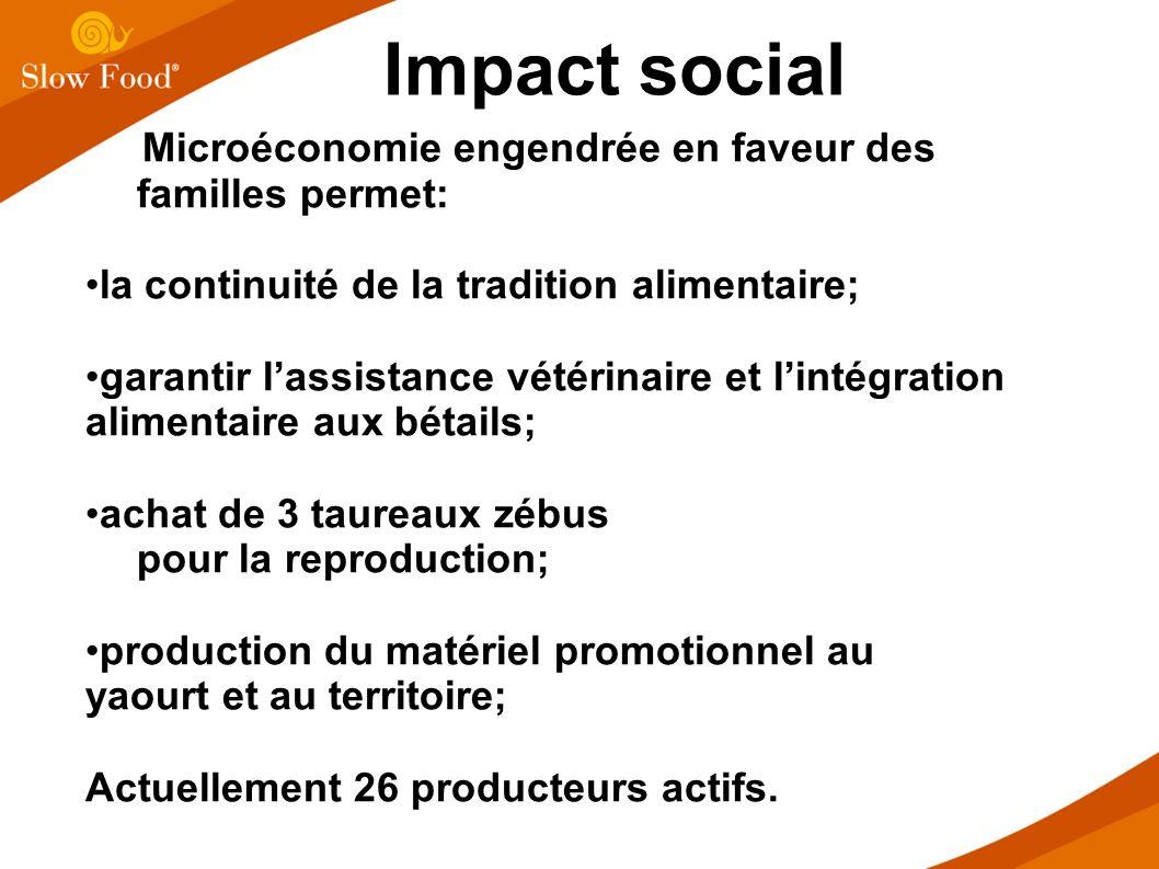 Impact social Microéconomie engendrée en faveur des familles permet: la continuité de la tradition alimentaire; garantir lassistance vétérinaire et li
