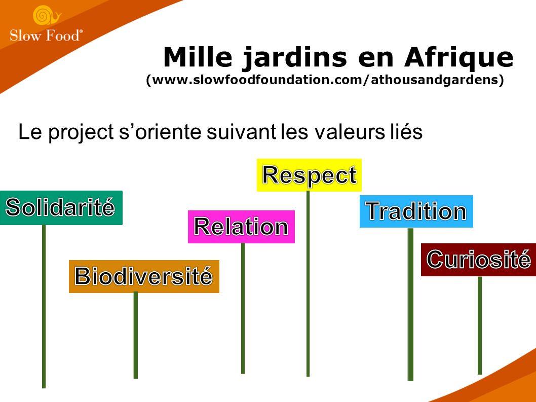Le project soriente suivant les valeurs liés Mille jardins en Afrique (www.slowfoodfoundation.com/athousandgardens)