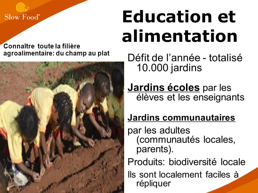 Défit de lannée - totalisé 10.000 jardins Jardins écoles par les élèves et les enseignants Jardins communautaires par les adultes (communautés locales