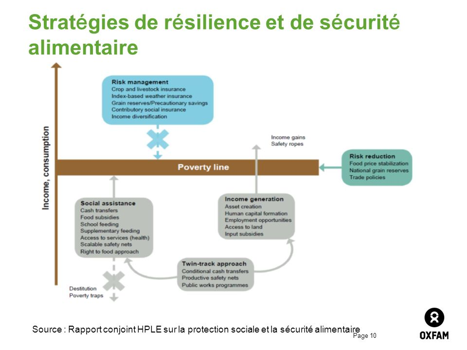 Page 10 Stratégies de résilience et de sécurité alimentaire Source : Rapport conjoint HPLE sur la protection sociale et la sécurité alimentaire