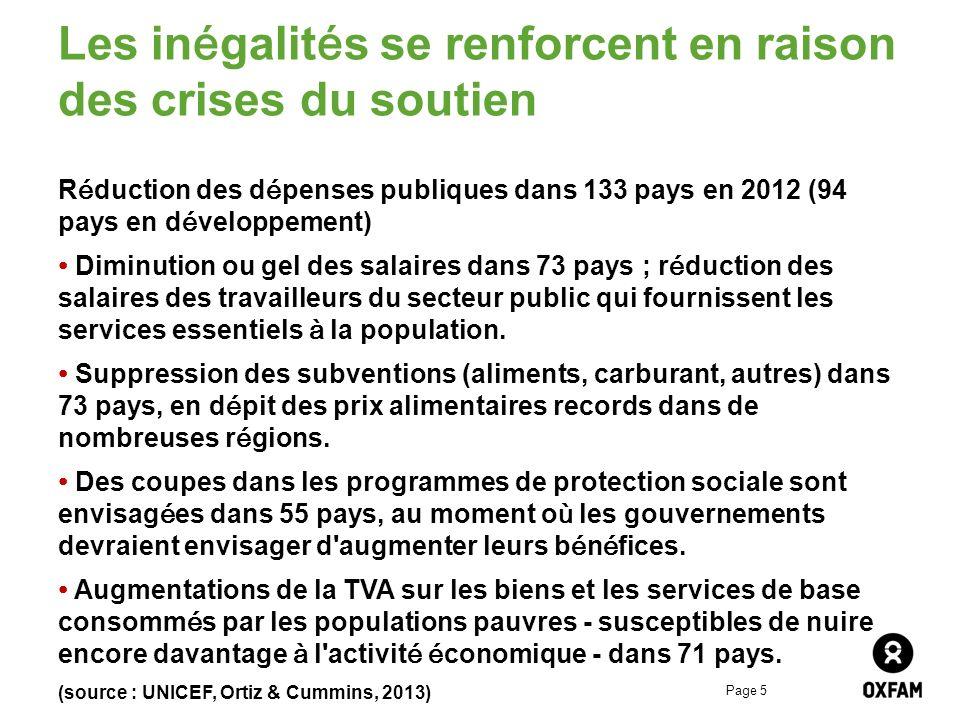 Page 5 Les inégalités se renforcent en raison des crises du soutien Réduction des dépenses publiques dans 133 pays en 2012 (94 pays en développement) Diminution ou gel des salaires dans 73 pays ; réduction des salaires des travailleurs du secteur public qui fournissent les services essentiels à la population.