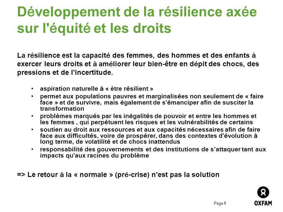 Page 8 Développement de la résilience axée sur l équité et les droits La résilience est la capacité des femmes, des hommes et des enfants à exercer leurs droits et à améliorer leur bien-être en dépit des chocs, des pressions et de l incertitude.