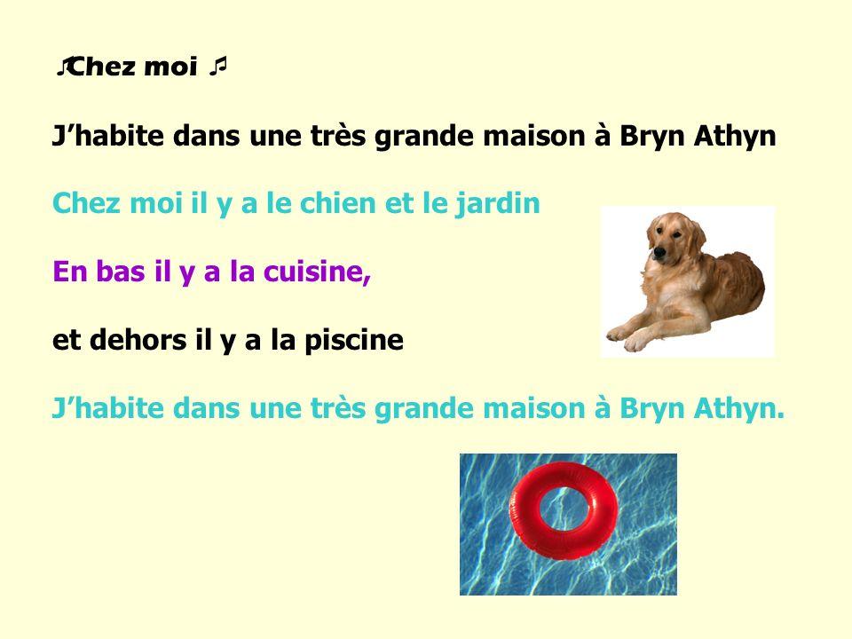 Chez moi J habite dans une très grande maison à Bryn Athyn Chez moi il y a le chien et le jardin En bas il y a la cuisine, et dehors il y a la piscine