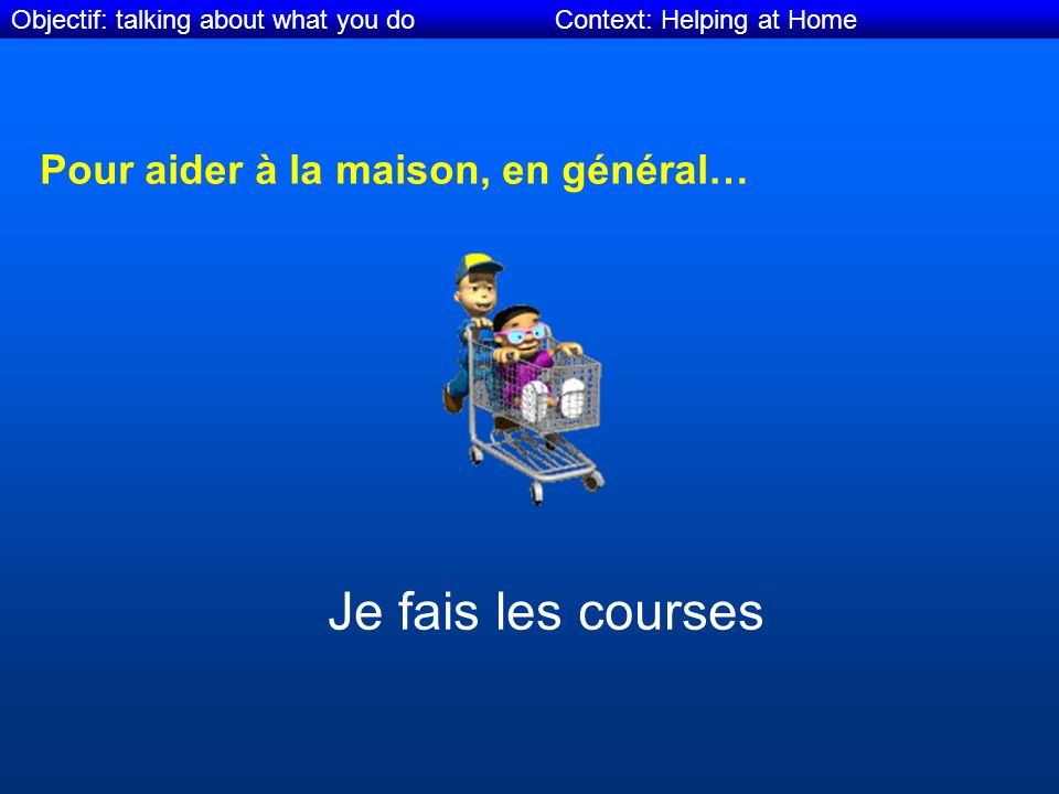 Objectif: talking about what you do Context: Helping at Home Pour aider à la maison, en général… Je fais les courses