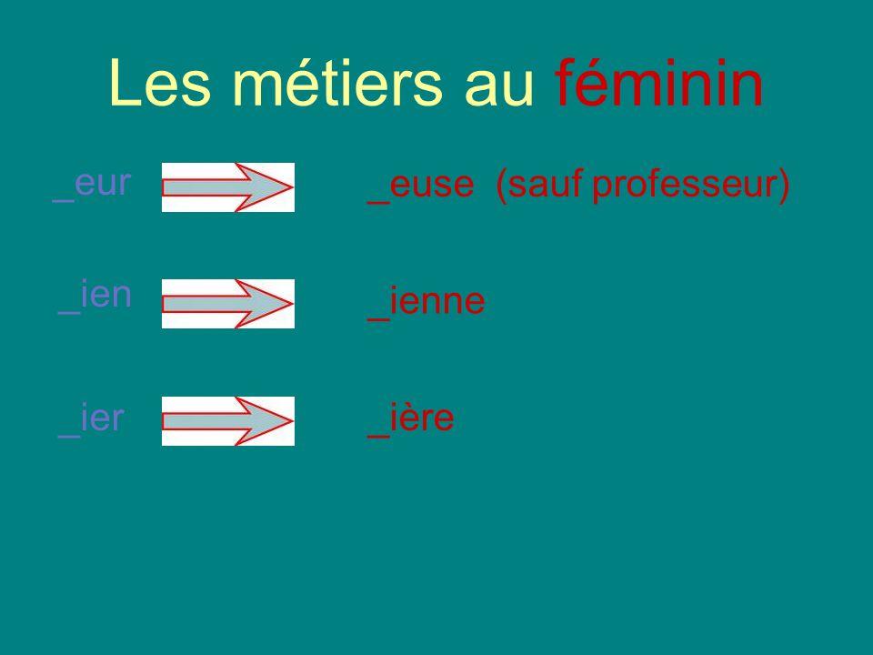 Les métiers au féminin _eur _euse (sauf professeur) _ien _ienne _ier_ière