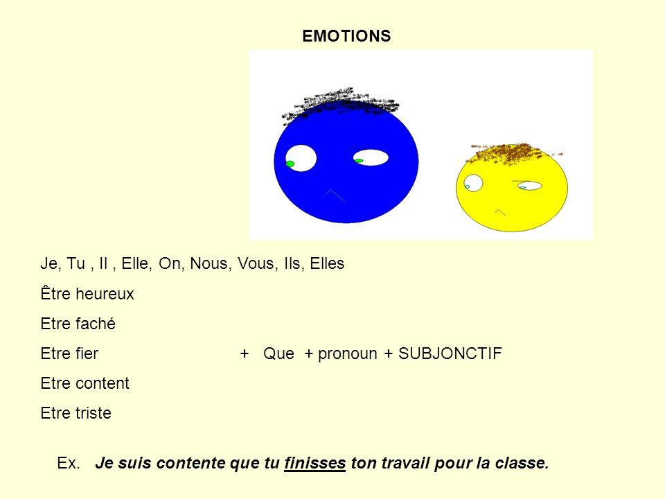 Je, Tu, Il, Elle, On, Nous, Vous, Ils, Elles Être heureux Etre faché Etre fier + Que + pronoun + SUBJONCTIF Etre content Etre triste EMOTIONS Ex.