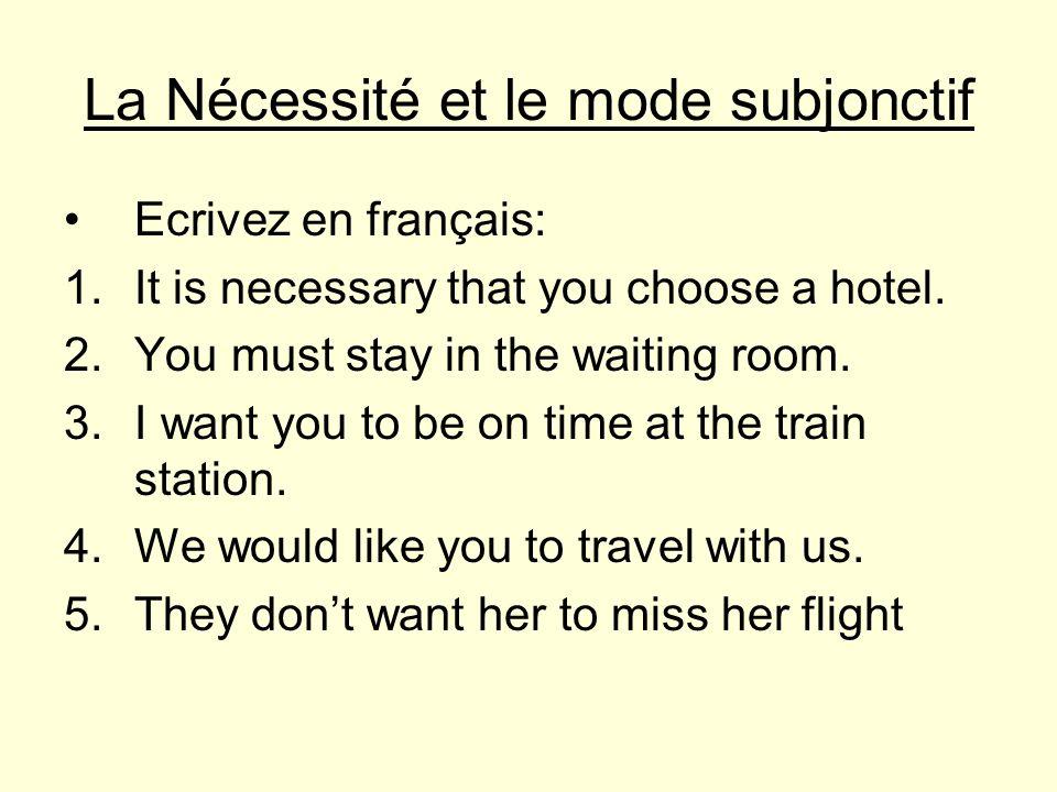 La Nécessité et le mode subjonctif Ecrivez en français: 1.It is necessary that you choose a hotel.