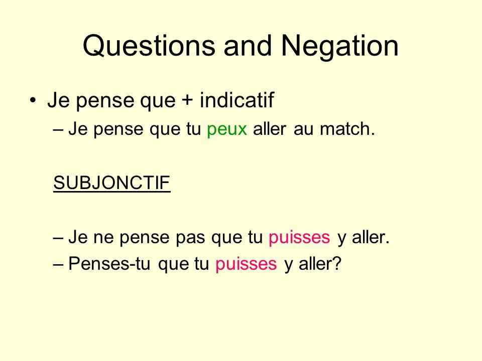 Questions and Negation Je pense que + indicatif –Je pense que tu peux aller au match.