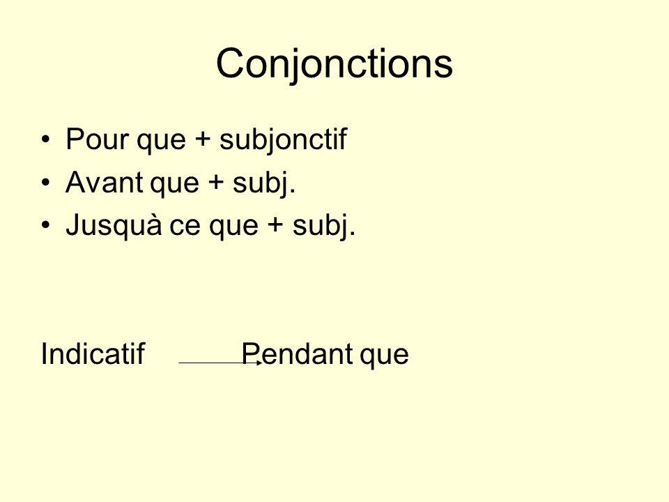 Conjonctions Pour que + subjonctif Avant que + subj. Jusquà ce que + subj. Indicatif Pendant que