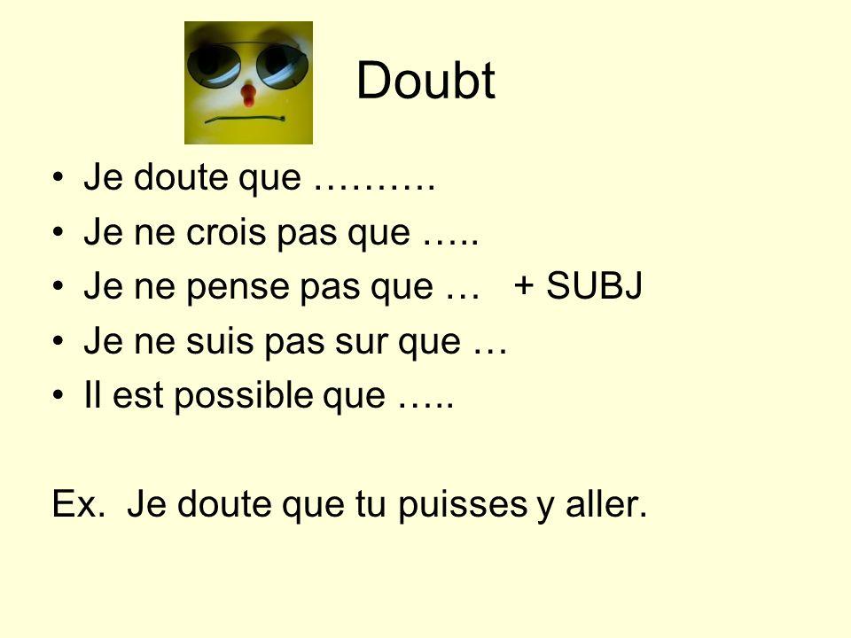 Doubt Je doute que ………. Je ne crois pas que …..