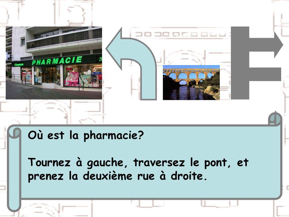 Où est la pharmacie Tournez à gauche, traversez le pont, et prenez la deuxième rue à droite.