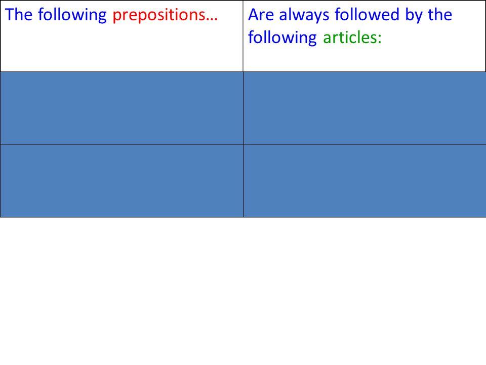 The following prepositions…Are always followed by the following articles: Devant, Derrière, EntreLe, la or l À gauche, à droite, à côtéDu, de la or de