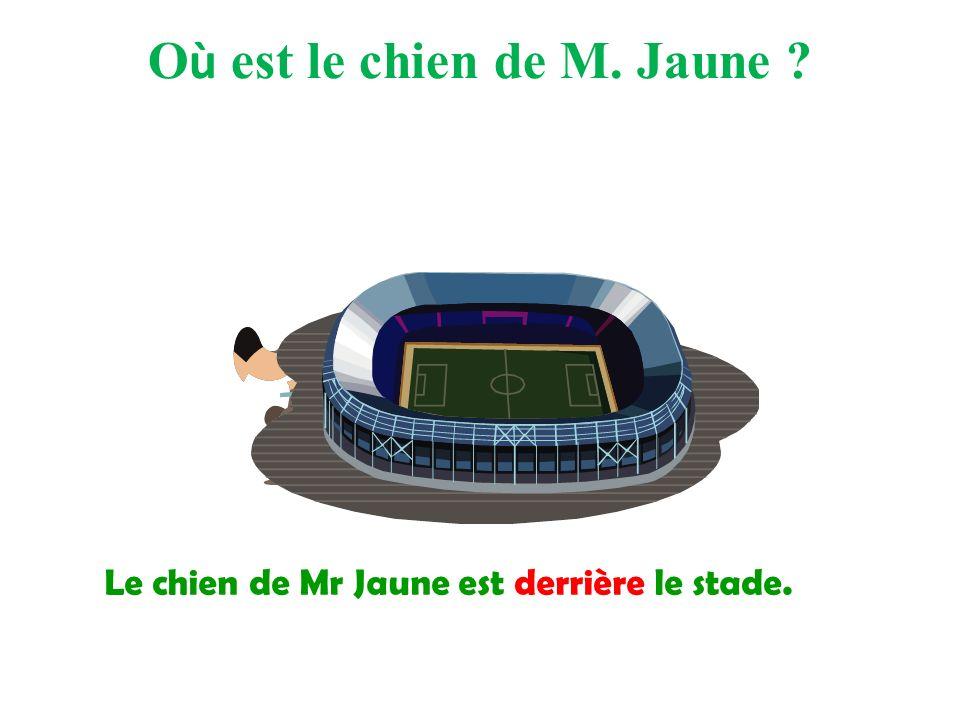 Le chien de Mr Jaune est derrière le stade. O ù est le chien de M. Jaune ?