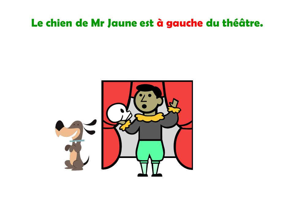 Le chien de Mr Jaune est à gauche du théâtre.