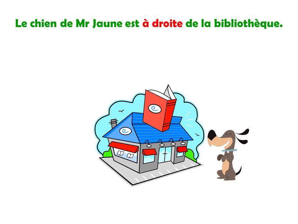 Le chien de Mr Jaune est à droite de la bibliothèque.