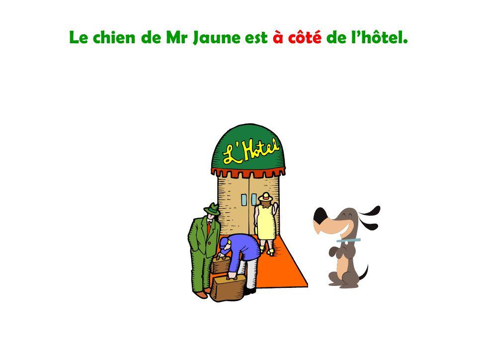 Le chien de Mr Jaune est à côté de lhôtel.