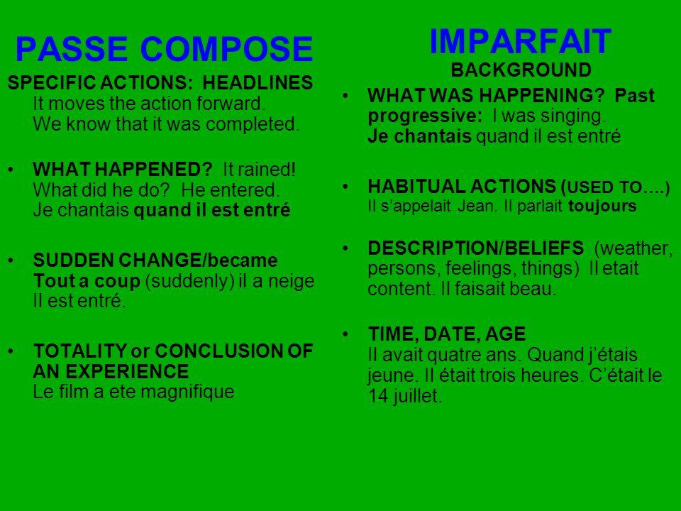 Verbes conjugués au passé composé ont deux parties : 1.