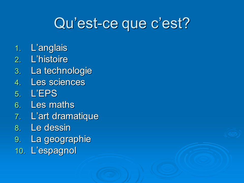 Quest-ce que cest? 1. Langlais 2. Lhistoire 3. La technologie 4. Les sciences 5. LEPS 6. Les maths 7. Lart dramatique 8. Le dessin 9. La geographie 10