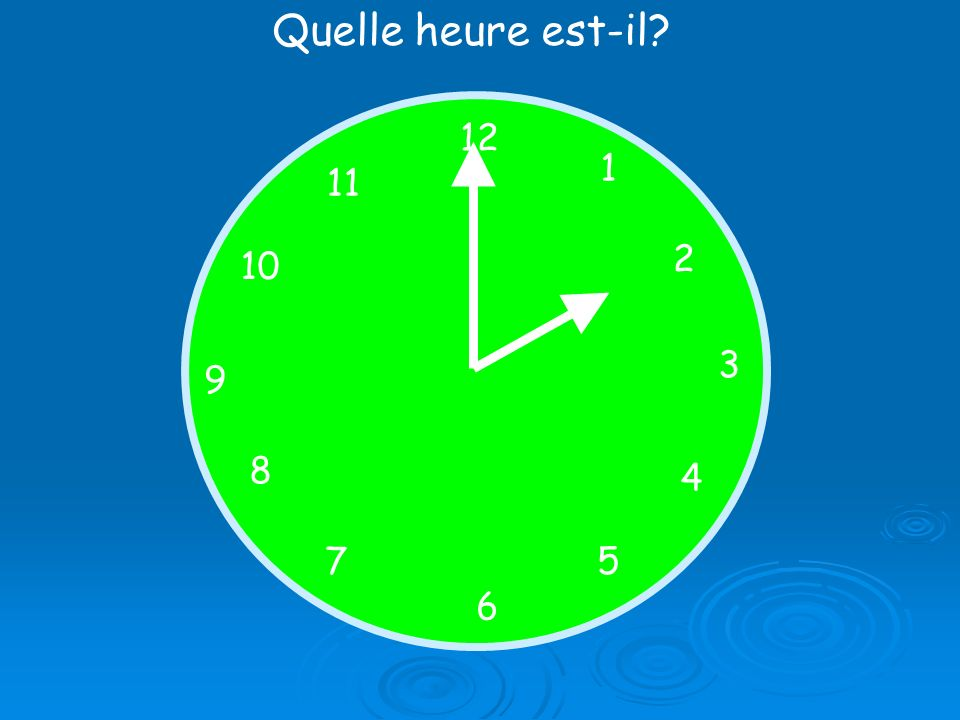 Quelle heure est-il? 12 1 5 4 9 3 6 10 11 2 7 8