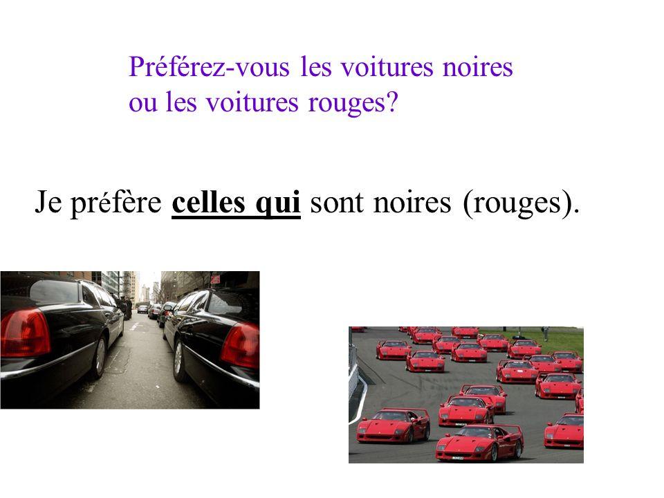Préférez-vous les voitures noires ou les voitures rouges? Je pr é fère celles qui sont noires (rouges).