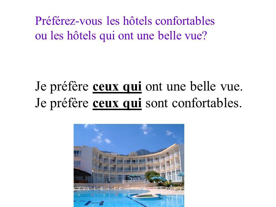 Préférez-vous les hôtels confortables ou les hôtels qui ont une belle vue? Je préfère ceux qui ont une belle vue. Je préfère ceux qui sont confortable