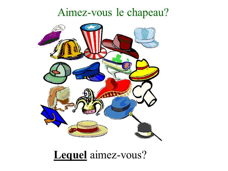 Aimez-vous le chapeau? Lequel aimez-vous?