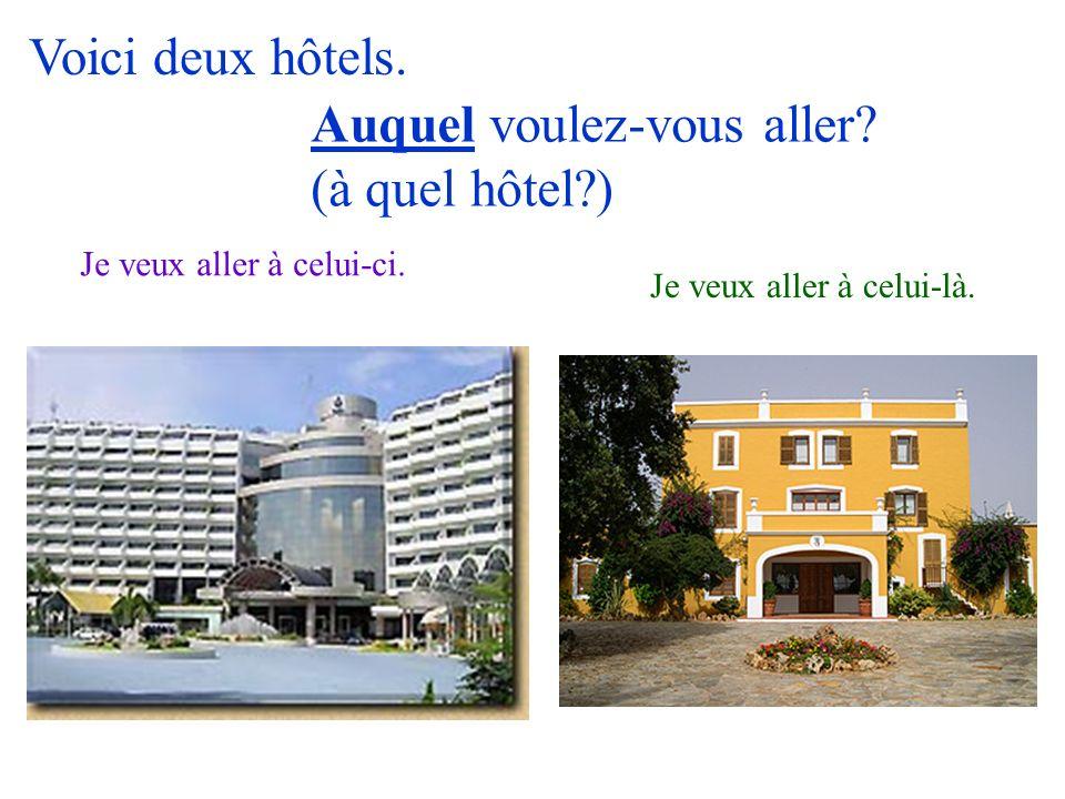 Voici deux hôtels. Je veux aller à celui-ci. Je veux aller à celui-là. Auquel voulez-vous aller? (à quel hôtel?)