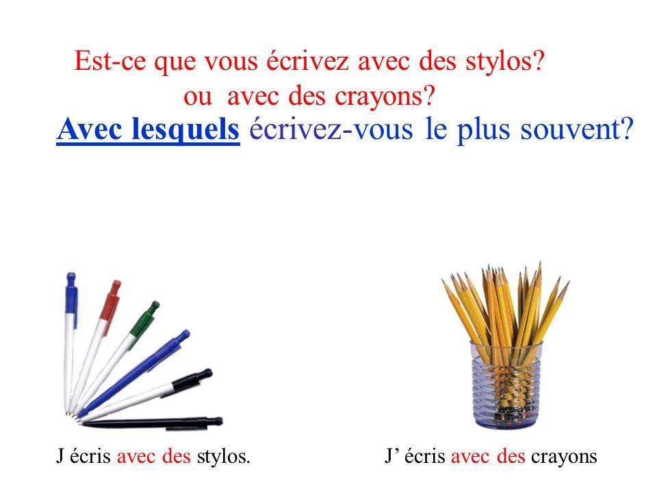 Est-ce que vous écrivez avec des stylos? ou avec des crayons? Avec lesquels écrivez-vous le plus souvent? J écris avec des stylos.J écris avec des cra