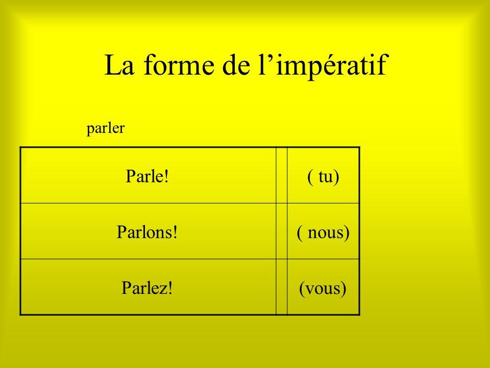 La forme de limpératif Parle!( tu) Parlons!( nous) Parlez!(vous) parler