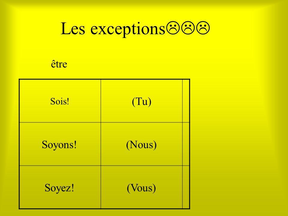 Les exceptions Sois! (Tu) Soyons!(Nous) Soyez!(Vous) être