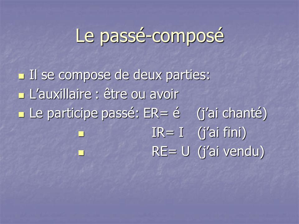 Le passé-composé Il se compose de deux parties: Il se compose de deux parties: Lauxillaire : être ou avoir Lauxillaire : être ou avoir Le participe pa