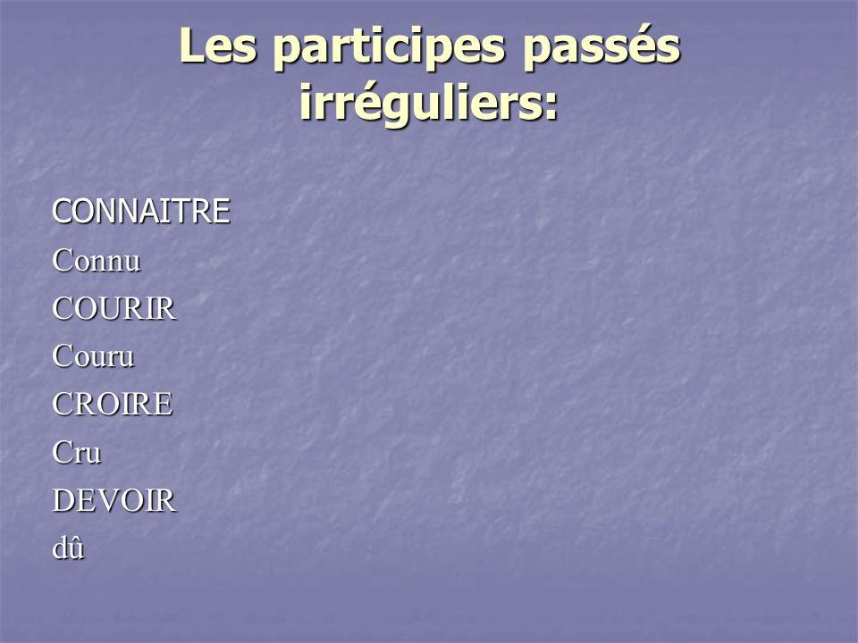 Les participes passés irréguliers: CONNAITREConnuCOURIRCouruCROIRECruDEVOIRdû