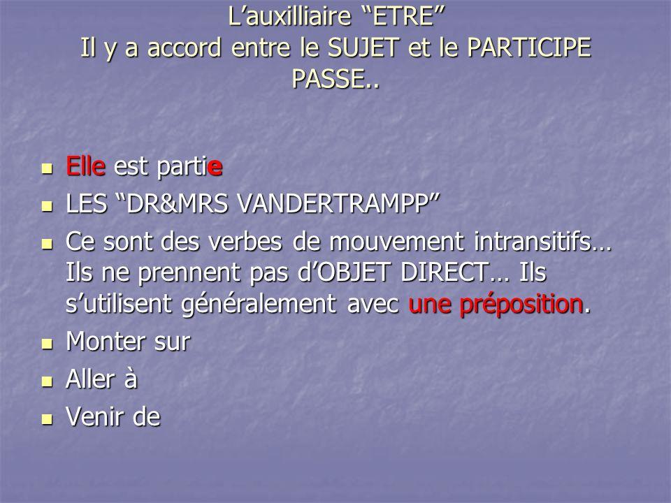 Lauxilliaire ETRE Il y a accord entre le SUJET et le PARTICIPE PASSE.. Elle est partie Elle est partie LES DR&MRS VANDERTRAMPP LES DR&MRS VANDERTRAMPP