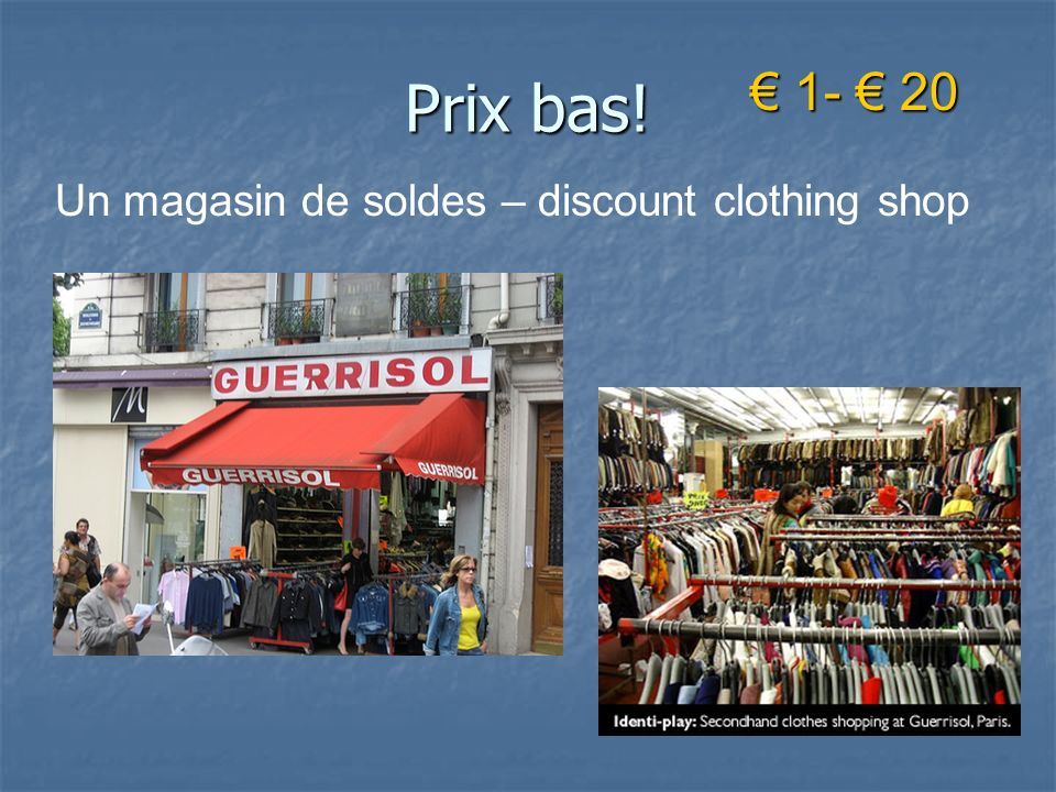 Prix bas! 1- 20 1- 20 Un magasin de soldes – discount clothing shop