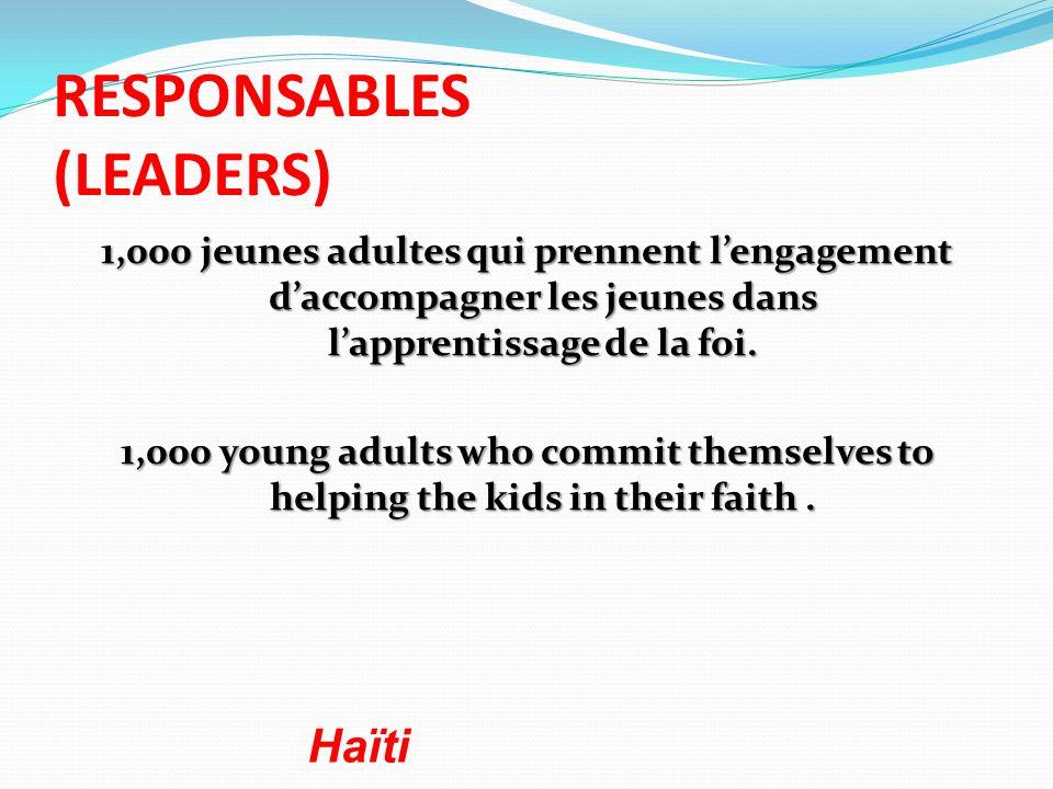 RESPONSABLES (LEADERS) 1,000 jeunes adultes qui prennent lengagement daccompagner les jeunes dans lapprentissage de la foi. 1,000 young adults who com