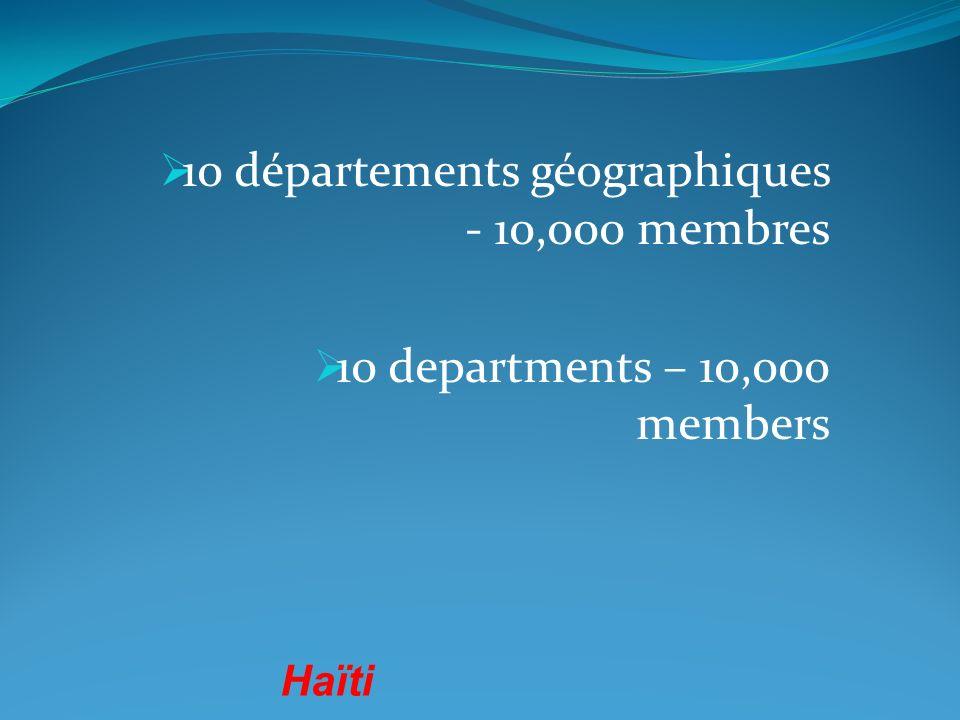10 départements géographiques - 10,000 membres 10 departments – 10,000 members Haïti
